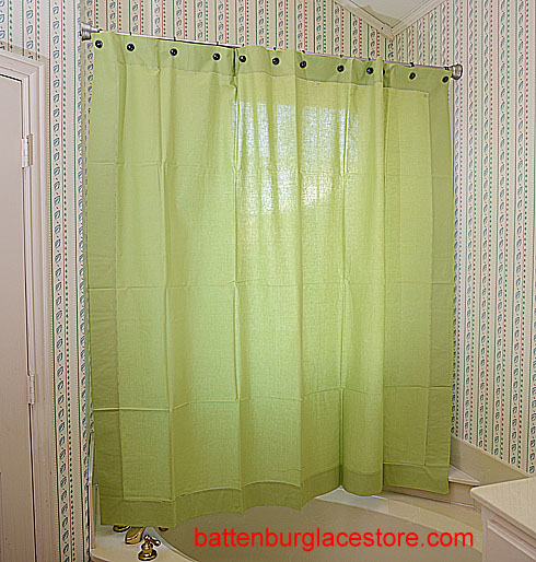 Shower Curtain. Macaw Green color